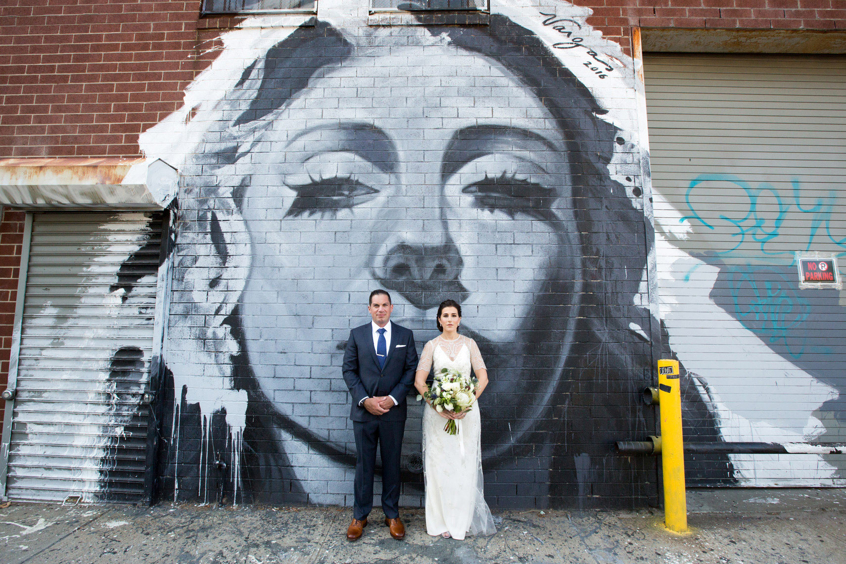Sarma-and-Co-bride-groom-mural-Williamsburg-Brooklyn-wedding-photographers