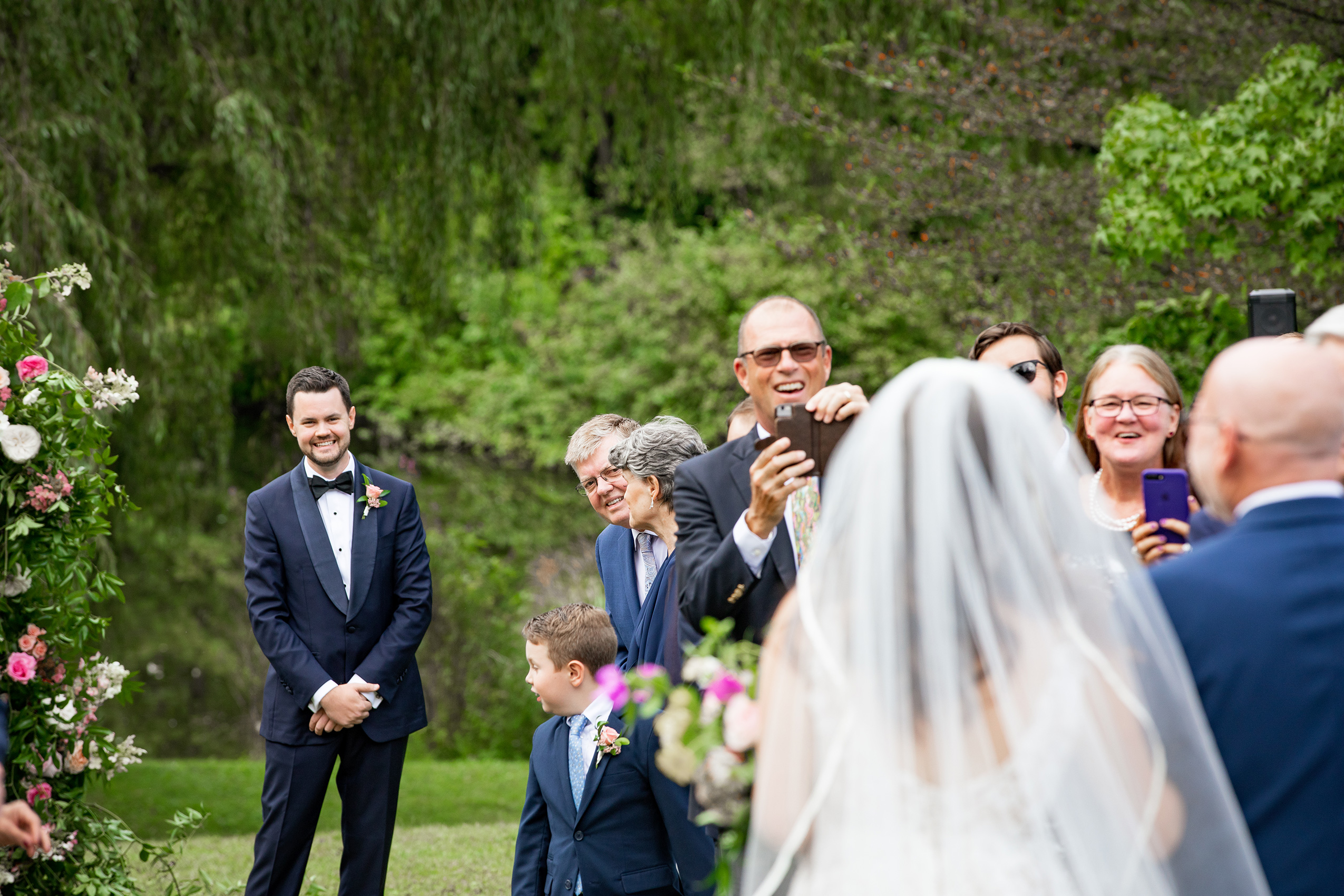 Summer wedding ceremony at Buttermilk Falls Sarma and Co Photography