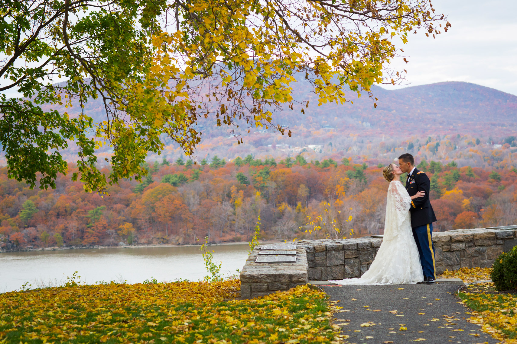 West-Point-Military-Academy-wedding-photographer-fall-colors-wedding-couple-portrait