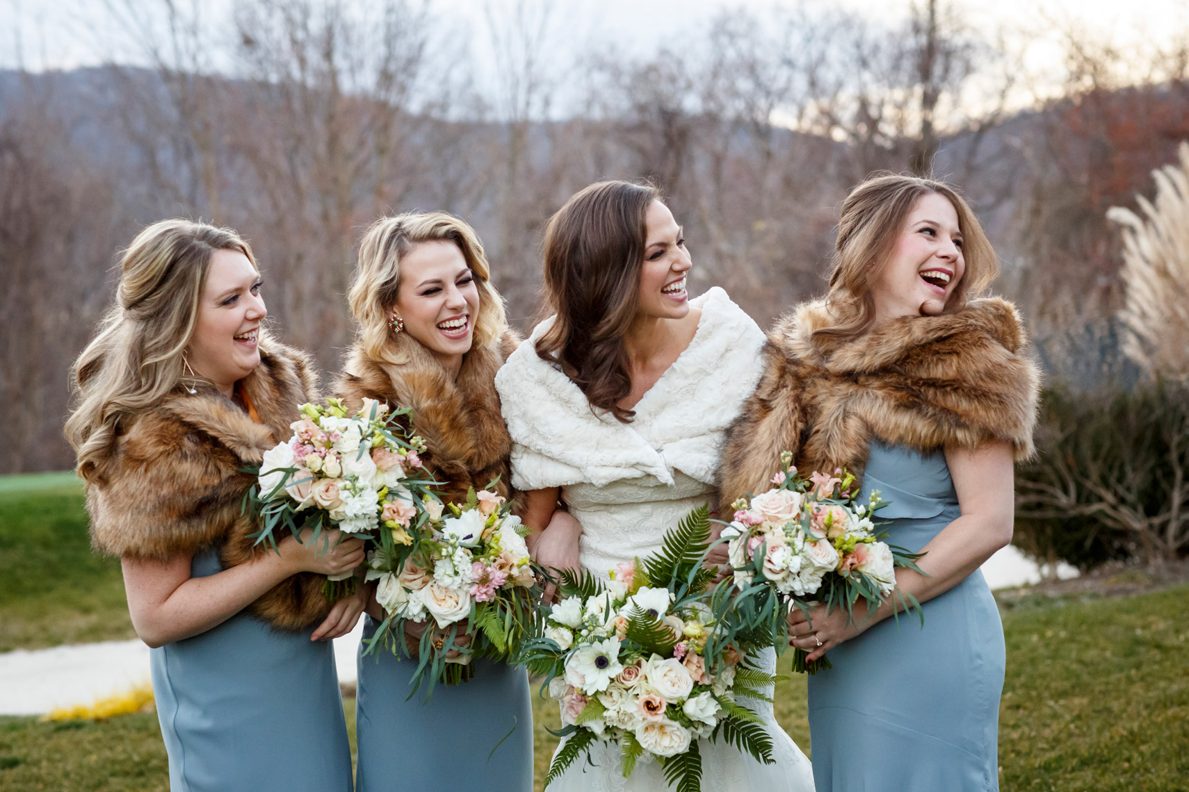 winter-wedding-bride-bridesmaids-Highlands-Country-club-sarma-and-co