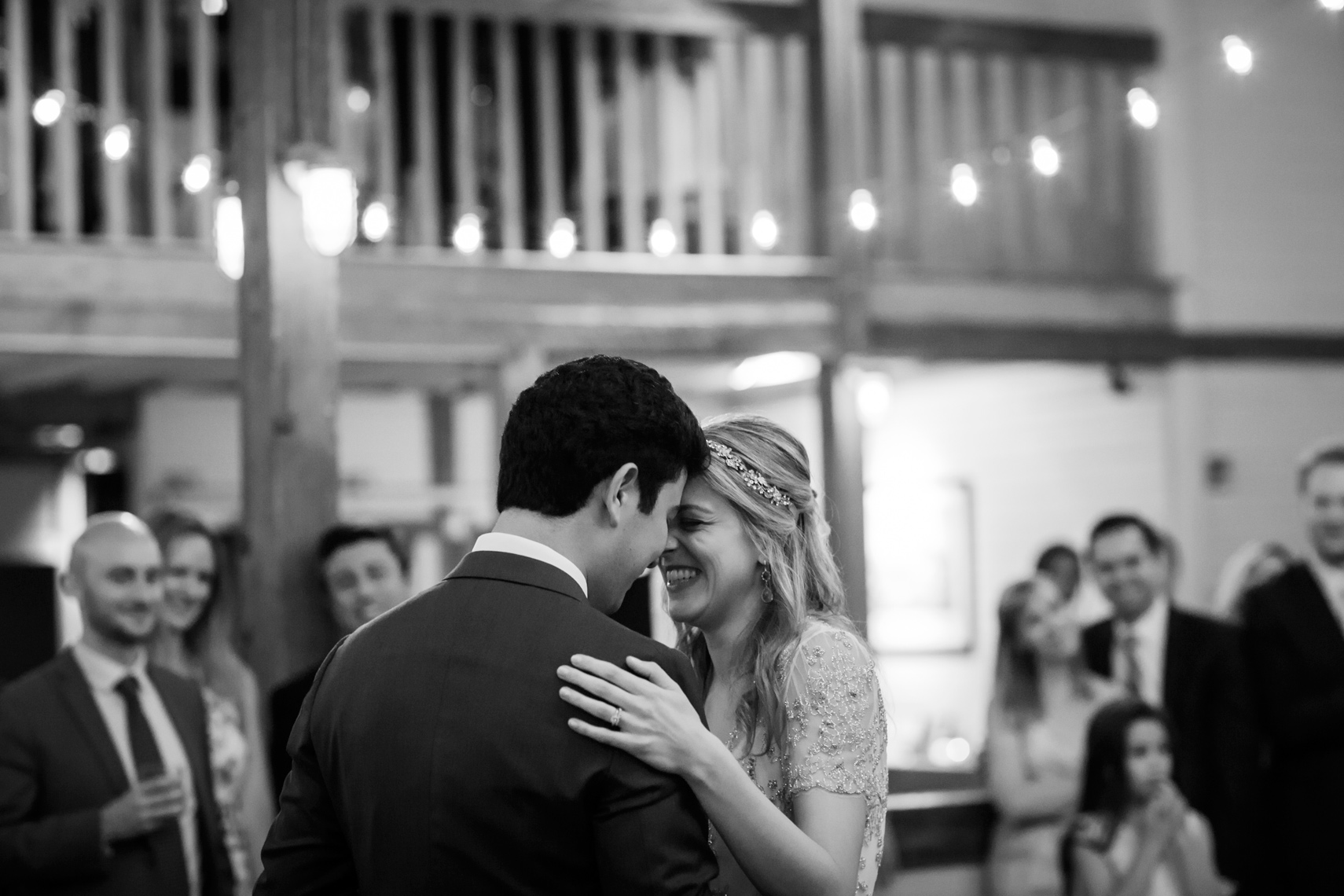 bride and groom dancing at their wedding reception at Gedney Farm