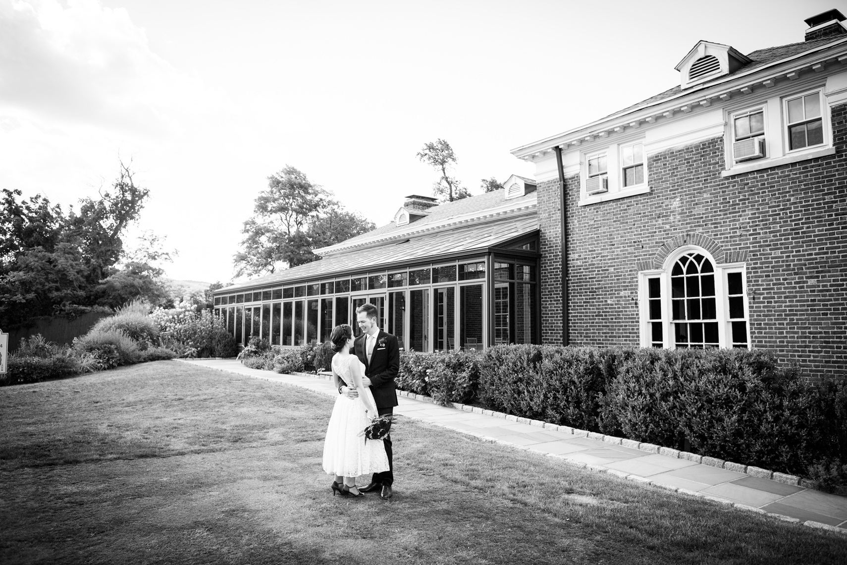 bride and groom on their wedding day at Highlands Country Club